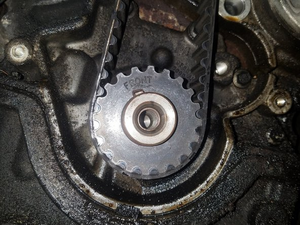 The removal of this cover fully exposes the remainder of the timing belt