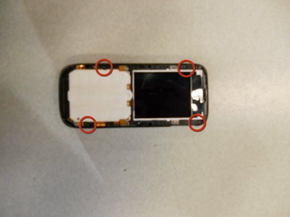 Locate the four screws that secure the back case to the rest of the phone.