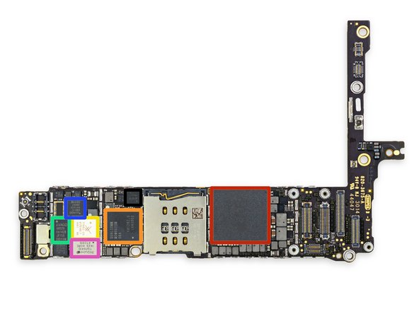 Image 1/2: Apple A8 [https://chipworks.secure.force.com/catalog/ProductDetails?sku=APP-APL1011&viewState=DetailView&cartID=&g=|APL1011|new_window=true] SoC + Elpida 1 GB LPDDR3 RAM (as denoted by the markings EDF8164A3PM-GD-F)