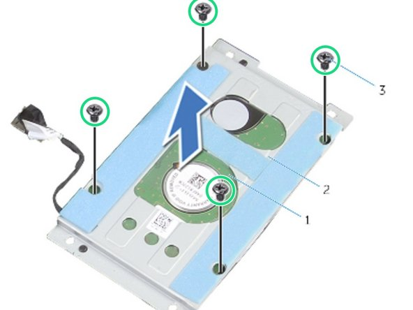 Remove the screws that secure the hard-drive bracket to the hard-drive  assembly.