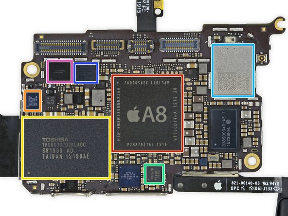 Image 1/2: Apple A8 APL1011 SoC + SK Hynix RAM H9CKNNN8KTMRWR-NTH 1 GB LPDDR3 RAM (Same as iPhone 6, but [http://techcrunch.com/2015/07/15/apple-shows-ipod-touch-some-love-with-a8-processors-camera-upgrades-and-new-colors/#.f6jjcd:1zV2|underclocked to 1.10 GHz per core|new_window=true])