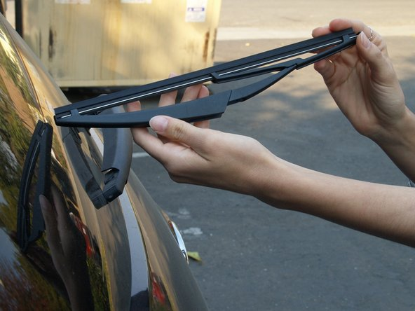 Position the new blade to where it aligns perfectly with the existing wiper arm.