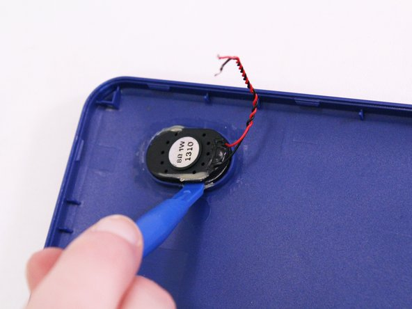 If needed use a plastic opening tool to remove speaker from the speaker port on the tablet.