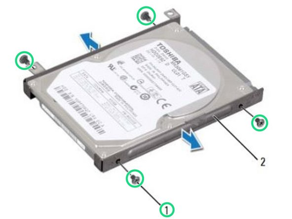 Remove the four screws that secure the hard drive to the hard-drive bracket.