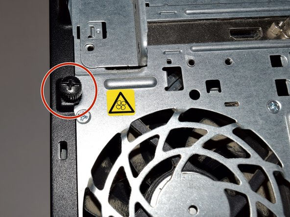 Locate thumbscrew on the back of the computer case.