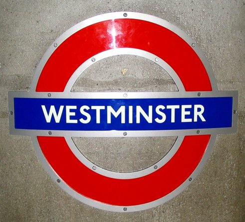 Spanner screws on the London Westminster Underground sign