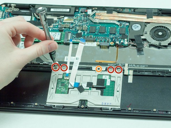 Using the Phillips head screwdriver, remove the four screws holding the track pad in.