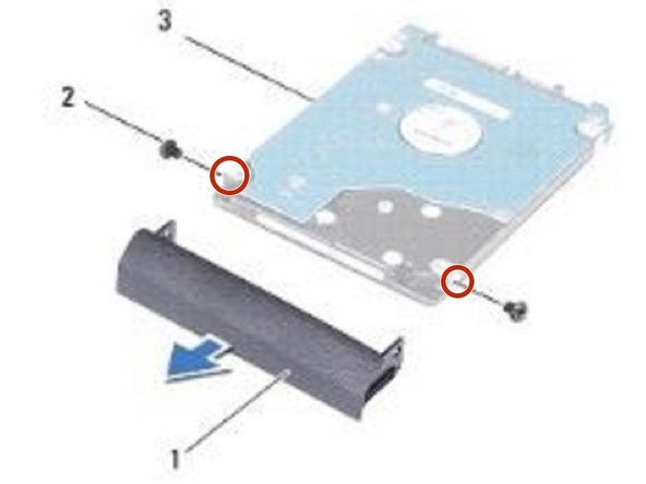 Align the screw holes on the hard-drive bezel with the screw holes on the NEW hard drive and replace the two screws.