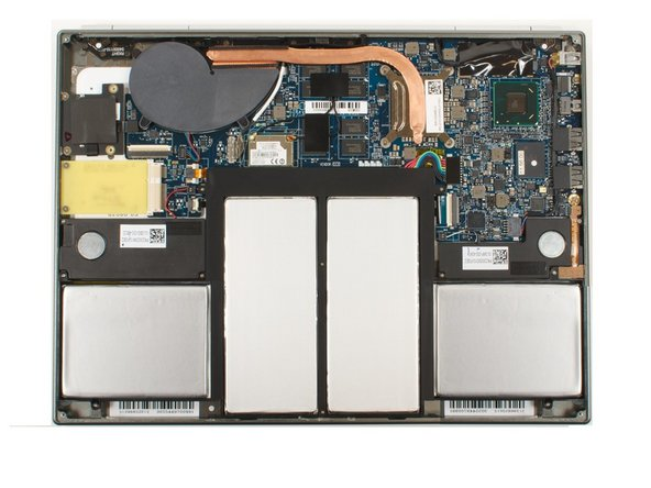 You should have your Chromebook Pixel flipped over and the bottom cover removed at this point