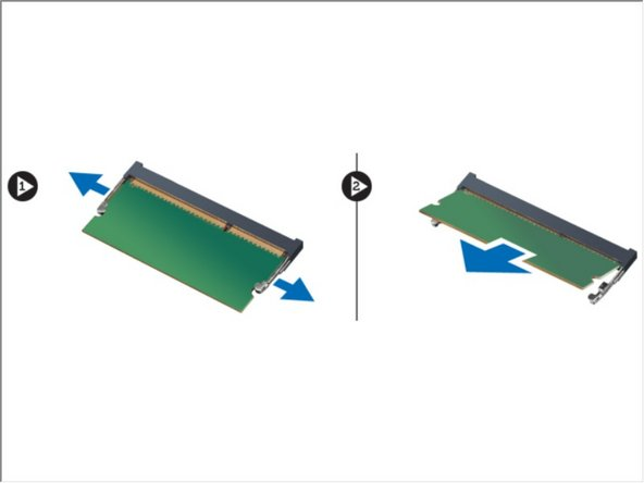 Use your fingertips to spread apart the securing clips on each end of the memory module connector until the memory module pops up and remove the memory module from its connector on the system board by drawing the module from the system board at 45-degree angle.