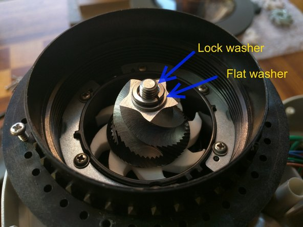 Put the conical lower burr in place making sure it sets on the pegs of the impeller properly. Then place the washers on and tighten the 10mm nut. Remember the threads are reversed.