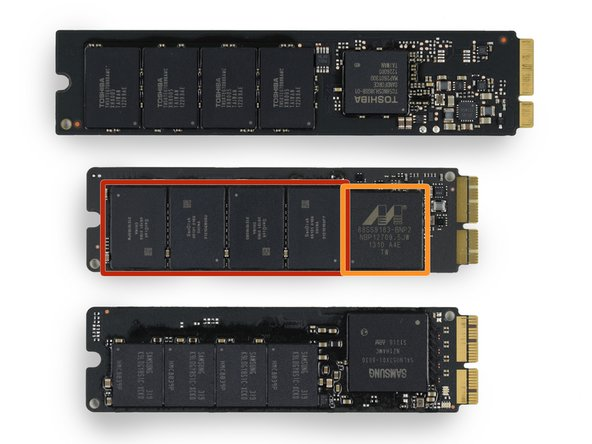 "SSDs from MacBook Air models from top to bottom: 2012-11"", 2013-11"", and 2013-13""."