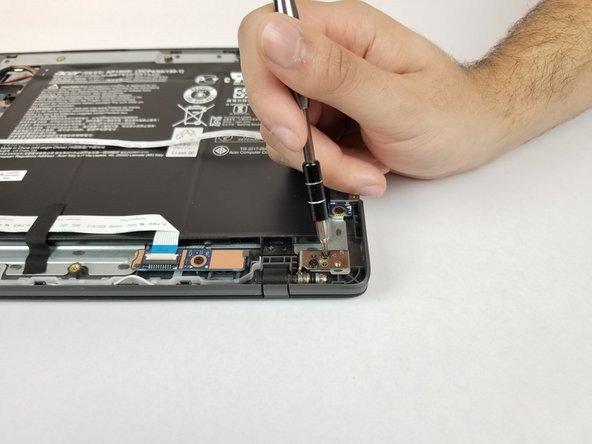 Remove the four 5mm Phillips #0 screws from the display hinge.