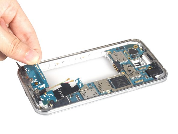 Remove the daughterboard and clean the signal cables from assembly. And you can replace the new USB charging board for Samsung Galaxy S5 Mini.