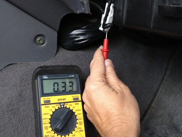 Image 1/1: Using a Voltmeter (set to DC Volts), the Green/Orange wire will have battery voltage (around 13.5vdc) from fuse #29 in the under hood fuse box.