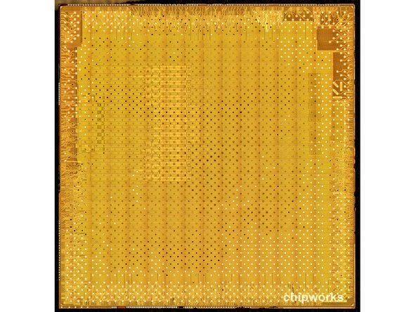 Image 1/3: What does the top of a metal die of the A6 processor look like? To us it looks like a Wheat Thin.