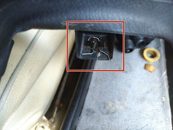 Image 3/3: In my car the plastic foot with the metal clip attached to it is cracked, so I added a small bit of wire to help pull it out next time so as not to break it (see red box in 3rd photo)