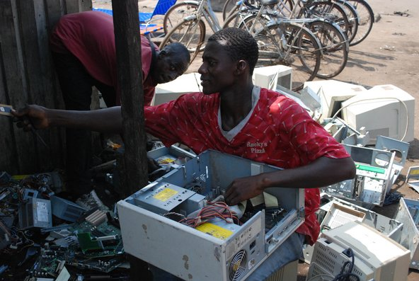 Recycling at an e-waste scrapyard in Agbogbloshie