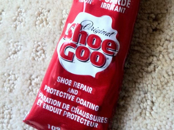 Use Shoe Goo to fill the cavity where the old hinge was previously. WARNING: do not use traditional hot glue gun because it dries up too fast before you even get a chance to put the new hinge on.