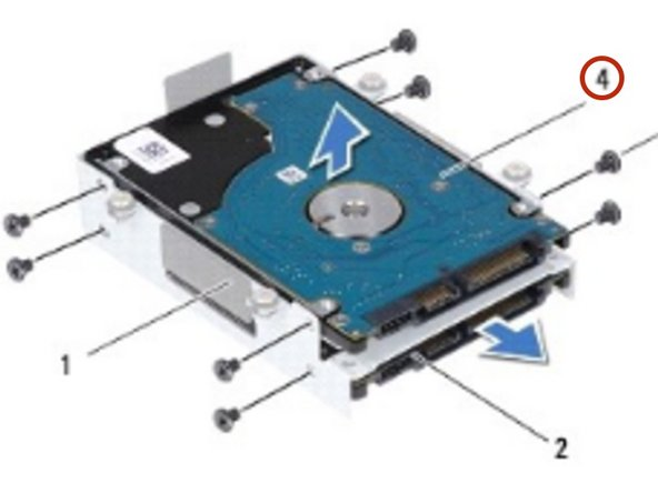 Place the primary hard drive (HDD0) in the hard-drive bracket.