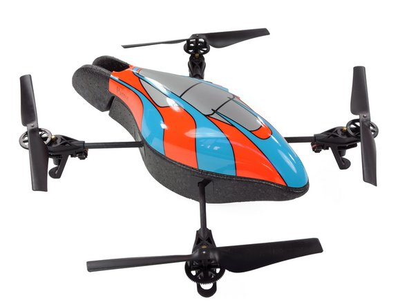 What's cooler than one quadricopter? Two quadricopters, of course! The AR.Drone comes with two hulls: an indoor unit with guards over the propellers (grey/white) and an outdoor unit (orange/blue).