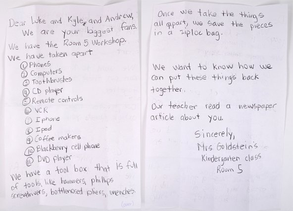 Letter from little fixers in a kindergarten class