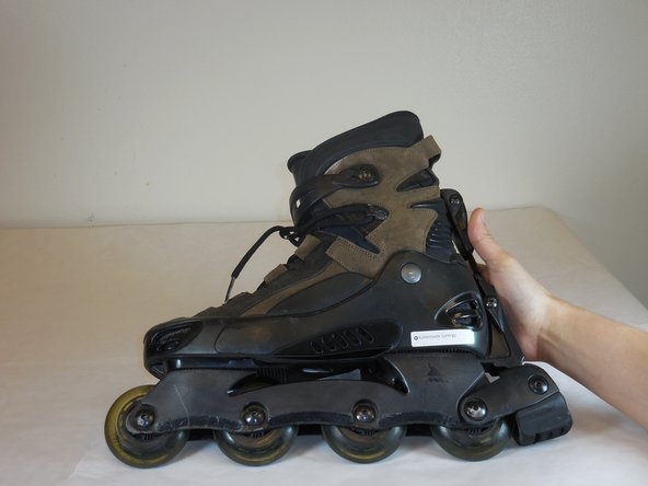 The roller blade needs to be side down on a flat surface