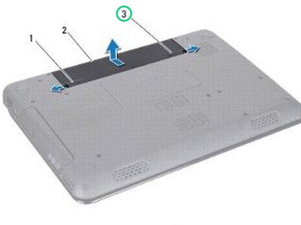 Deslice el pestillo de bloqueo de la batería a la posición de desbloqueo.