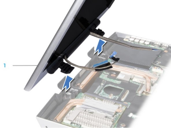 Bend the display assembly towards the computer base at a 45-degree angle   and lift the display assembly off the computer.