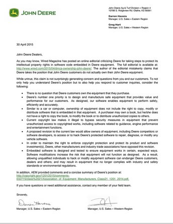 Letter from John Deere to its customers about the DMCA