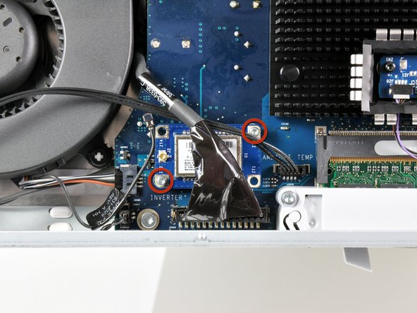 Remove the two T6 Torx screws securing the Bluetooth board to the logic board.