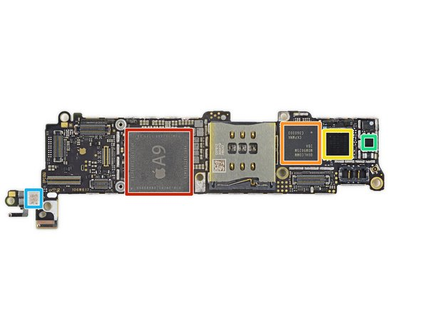 Apple A9 APL1022 SoC + SK Hynix  2 GB LPDDR4 RAM as denoted by the markings H9KNNNBTUMUMR-NLH