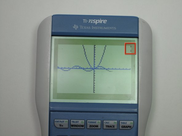 Image 1/1: The bar on the top right corner indicates the calculator is graphing.