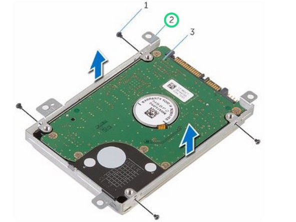 Place the hard-drive bracket over the NEW hard drive and align the screw holes on the hard-drive bracket with the screw holes on the hard drive.
