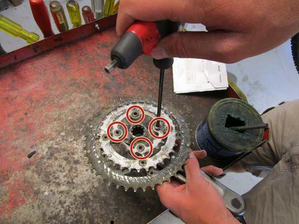 Remove the four 6mm hex bolts from the small chainring using the 6mm hex screwdriver. This will allow you to remove the chainring.