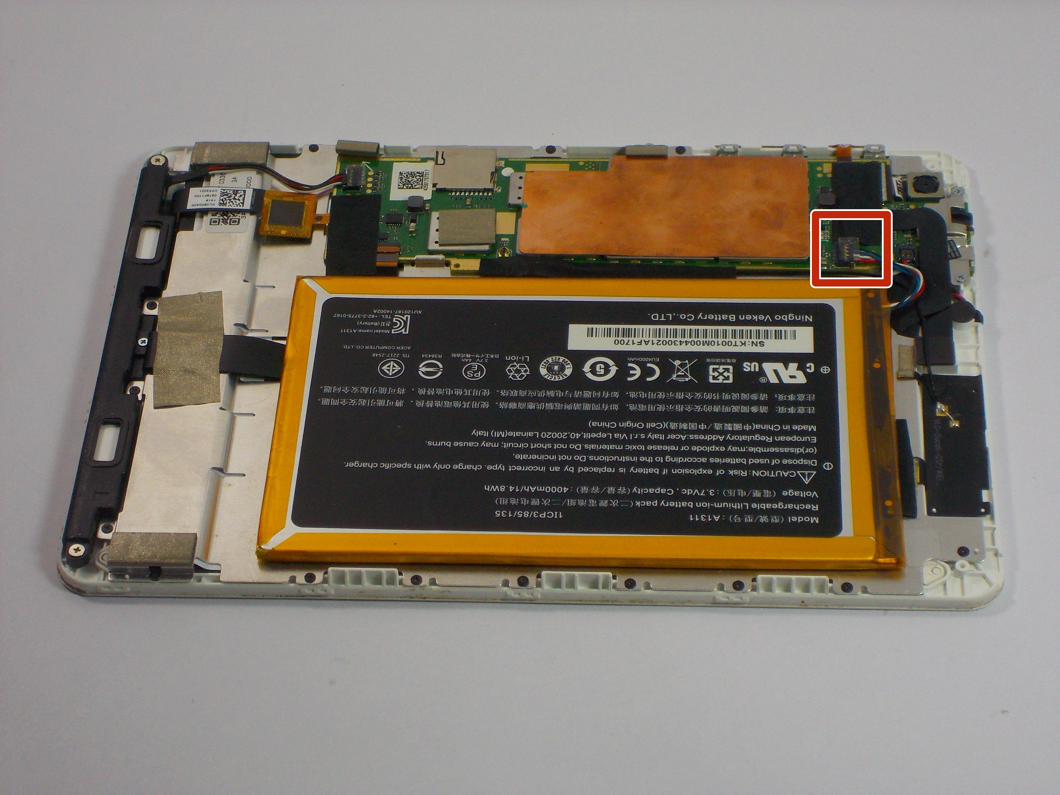 Acer Iconia A1 830 Battery Replacement Ifixit Repair Guide Front Panel Wiring Issue Solved Components