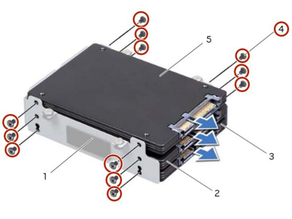 Replace the screws that secure  the primary hard drive (HDD 0).
