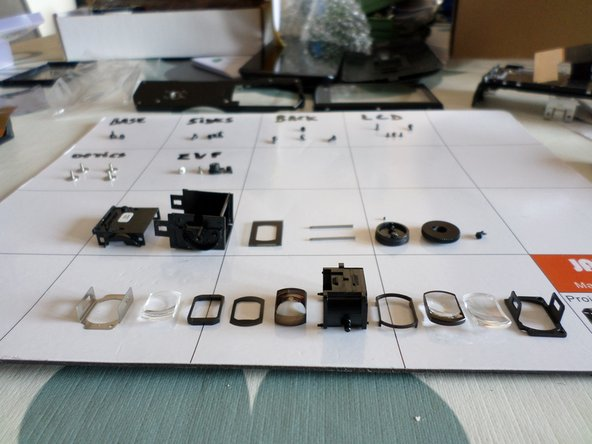 When re-assembling, there's only one way to get them back in, so keep track of lenses order and direction when removing each one of them. Or wou'll have to try many times to comlete the puzzle.