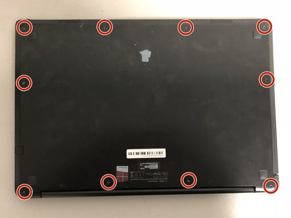 Remove all ten screws on the back of the laptop to remove the cover.
