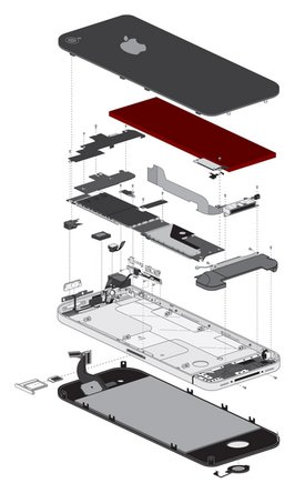 Exploded view of the iPhone 4, battery highlighted in red.