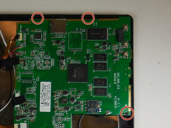Use a Phillips #000 screwdriver to remove the three screws from the motherboard.