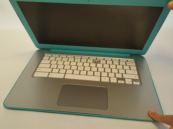 Image 1/2: Opening the lid too far may cause damage to some of the internal pieces of the laptop.