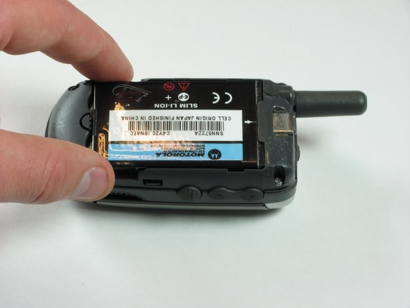 Remove battery by grabbing it near the bottom and lifting out.