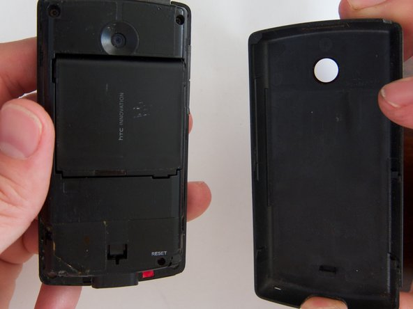 Simple photo of the back of the phone with the rear cover off.