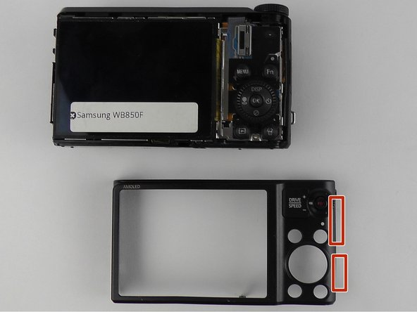 To remove the back screen case, use the blue opening tool to open the case up from the right side.