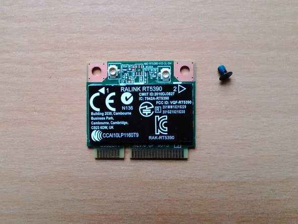 The wireless card should then be kept in a safe place and care taken not to lose the small screw that goes with it.