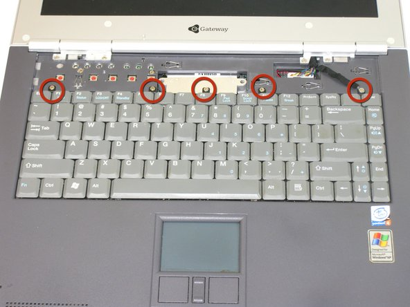 Remove the 5 screws holding the keyboard in place.