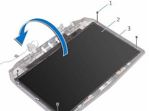Align the screw holes on the display panel with the screw holes on the display back-cover.