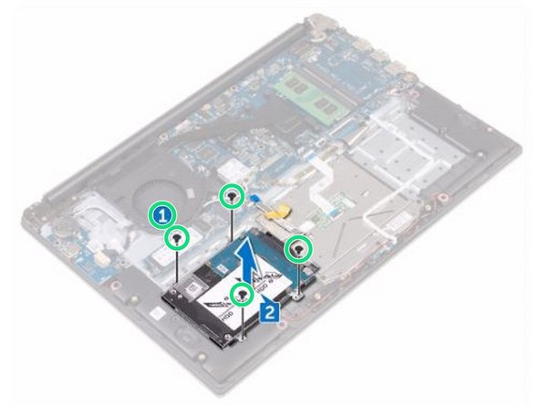 Replace the four screws (M2x3) that secure the hard-drive assembly to the palm rest and keyboard assembly.