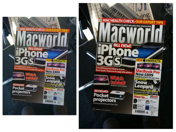 In each image, the left photo is from the iPhone 3G, the right photo is from the iPhone 3GS.